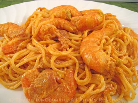 Shrimp in Tomato and Green Garlic Sauce on Angel Hair Pasta; My Hoopoe ...